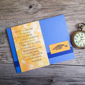 """Graduation Card with Irish Blessing """"May the Road Rise"""" - Blue and Yellow College Graduation Card - High School Graduation Notecard"""