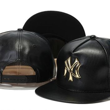Crocodile Grain hat letters hip-hop hat New York Yankees PU leather Casual Outdoor baseball cap