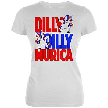 4th of July Dilly Dilly Murica Dabbing Unicorn Juniors Soft T Shirt