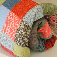 Patchwork Quilt--Size--93 X 93 Queen--Beach Pastels, cotton blanket, with 2 standard pillow shams