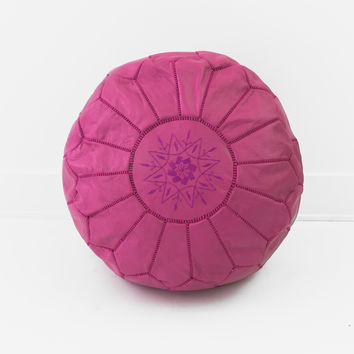 Moroccan Leather Pouf, Fuschia Pink