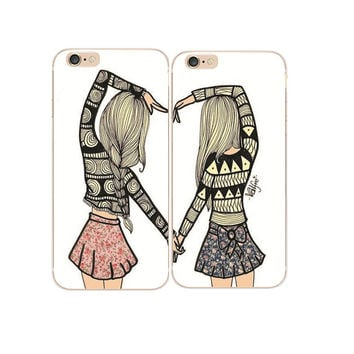 2016 Hot luxury Best Friends Besties Design Hard PC Case For iphone 4 4S SE 5 5S 5G 5C 6 6S 7 Plus 6S Plus Cover Shell