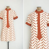 1960s Dress - Vintage 60s Mod Novelty Print Dress - Concept Art Dress