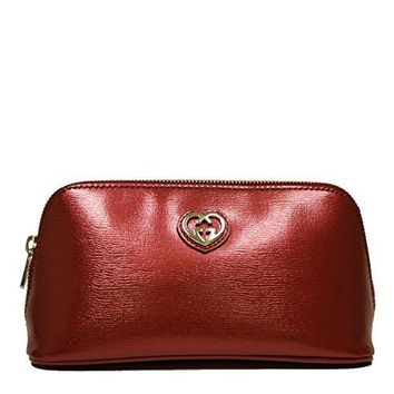 Gucci Interlocking GG Shiny Red Leather Cosmetic Case Pouch 338190