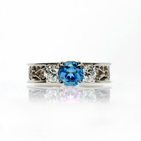 Swiss blue topaz filigree ring, white sapphire ring, engagement ring, unique, Blue engagement, wedding ring, white gold, sapphire, blue