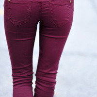 Walking In Style Jeans: Burgundy | Hope's