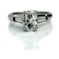 1.34 Carat Vintage Oval Diamond Engagement Ring GIA D SI2