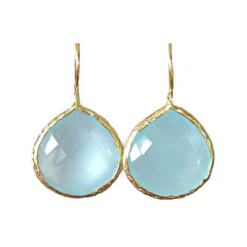 Aqua Chalcedony Gold Teardrop Earrings