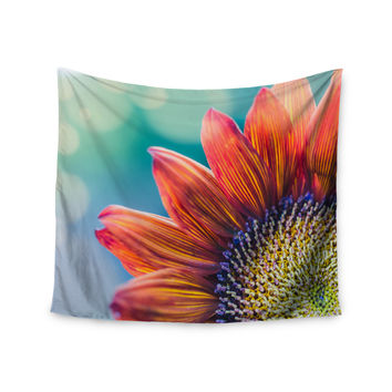 "Ann Barnes ""Fire & Ice"" Flower Red Teal Bokeh Wall Tapestry"