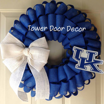 UK University of Kentucky Blue Burlap Wreath with White Burlap Bow
