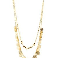 Gold Layered Bead & Coin Necklace by Charlotte Russe