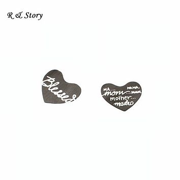 Heart living locket mixed stainless steel plates for floating locket plate black plating, free shipping LFP_250