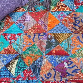 Small Throw Blanket Double Sided Bali from Siamese Dream Design : batik patchwork quilt - Adamdwight.com