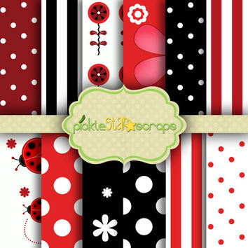 Craft Papers 12x12 Ladybug Papers Ladybug Printable Ladybug Backgrounds Ladybug Party Printable Papers Garden Papers INSTANT Download