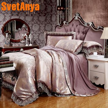 Luxury flowers print bedding sets light mauve lace border linens silk cotton jacquard 4/6pcs Queen/King duvet cover set sheets