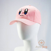 Kirby Inspired - Embroidered Baseball Hat or Cap (Adjustable or Flexfit)