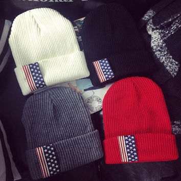 Exclusive - Unisex Two Tone Winter Warm - Knit Thick Slouch Beanie - American Flag Cap Hat - Gift