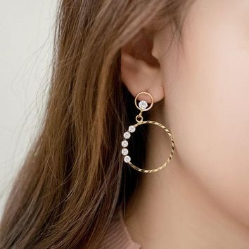 ONETOW Korean 925 Silver Stylish Simple Design Strong Character Earrings [8740042055]