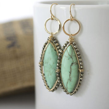 Turquoise Earrings, Long Earrings, Gold Earrings, Dangle Earrings