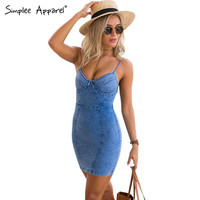 Sexy backless 2016 denim dress Women vintage bodycon summer dress Beach party short dresses casual blue