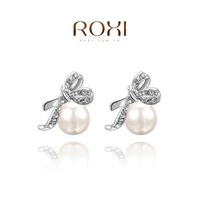 18K Rose Gold Plated /White Gold Plated Bowknot Pearl Stud Earrings Fashion Handmade Jewelry For Women