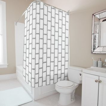 Frames Bricks Pattern Stylish Shower Curtain