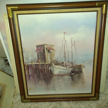 Mid-century oil painting of marina and sail-boats