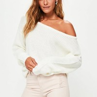 Missguided - Cream Off Shoulder Knitted Sweater