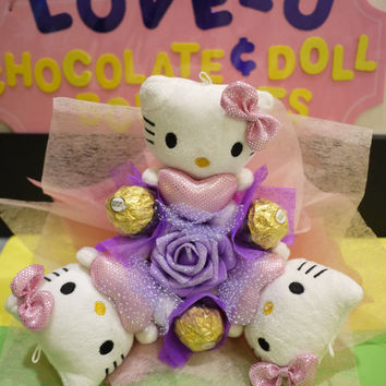 Hello Kitty plush doll flower bouquet with Ferrero Rocher Chocolates. Pretty birthday gift
