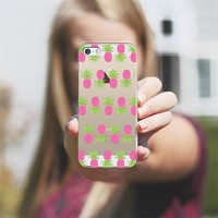 Pink Pineapple Stripes - Transparent/Clear Background iPhone 5s case by Lisa Argyropoulos | Casetagram