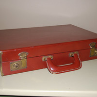 Vintage Leather Attache Case with by AGlimpseFromthePast on Etsy