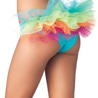 Sexy Rave Raver Gogo Dancer Wear Outfit Rainbow Tanga Tutu Back Panties Bottoms