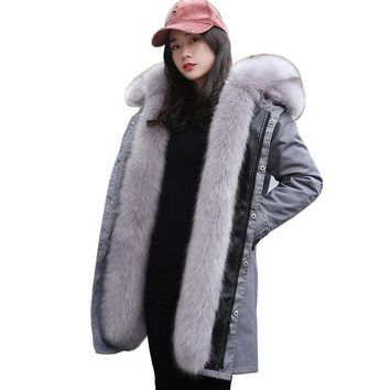 2018 new faux fur coat parkas winter jacket coat women parka real large fox fur collar hooded faux fur Warm long outerwear