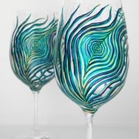 Peacock Feather Wine Glasses--Set of 2 Hand Painted Glasses