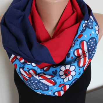 America Star-Spangled Banner, American Flag Infinity Scarf, USA Scarf, American Flag Scarves, Flag Scarf, Red White Blue, Patriotic Scarves