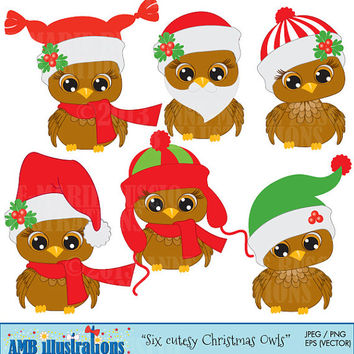 40% OFF Christmas Cutesy Owls for clipart and card design, vector graphics, digital clipart, instant download AMB-352