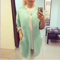 Winter Women's Fashion Long Sleeve With Pocket Jacket [9509483332]