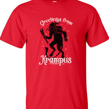 Greetings From Krampus Gruß vom Krampus Hail Santa Christmas t-shirt satanic shirt goth hail satan quote gift Mens Ladies swag MLG-1275