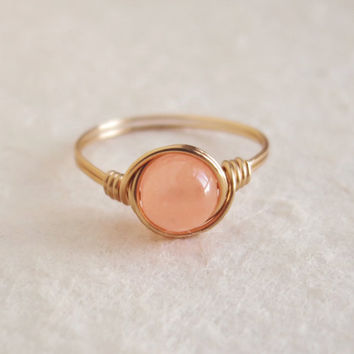 Coral Jade ring - unique rings