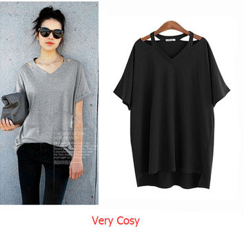 Womens Solid V-neck Cut Out Loose T-shirt Gift-103