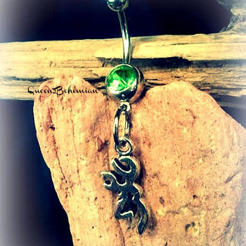 Green Browning Symbol Belly Button Ring,Deer Gun Jewelry,Redneck,Country Girl Life,Hunting Girl,Body Piercing,Ready 2 Ship,Direct Checkout
