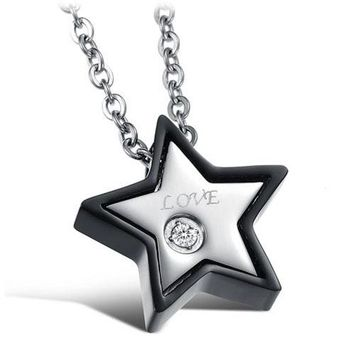 SHIPS FROM USA 2017 New Men's Women's Couple Lovers Stainless Steel Love Star Shaped Necklaces & Pendants, Necklaces for Lovers - 1 PCS