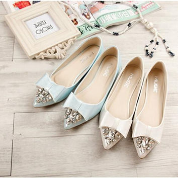 2016 spring and autumn new fashion Women shoes bow rhinestone point shoes Women flats large size 33-452
