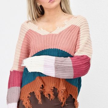 Wide V-neck Cropped + Frayed Knit Sweater {Teal/Blush Mix}