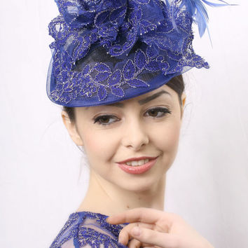 Ascot hat FREE delivery! Royal blue Royal Ascot Fascinator, Kentucky derby hat, Wedding head piece royal blue feathers and lace, Race Derby