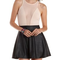 Nude Racer Front Mesh Cut-Out Bodysuit by Charlotte Russe