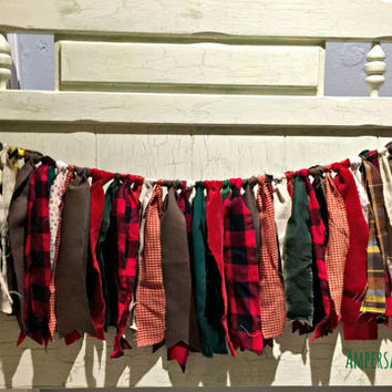 Lumberjack Party Fabric Bunting, Bunting Banner Buffalo Plaid Garland, Lumberjack Red & Black Plaid, Party Decor, Cabin Mt Woods outdoors