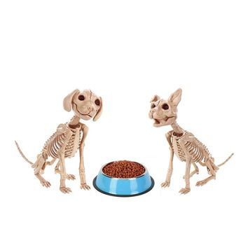 Moquerry Skeleton Dog Puppy Cat Kitty Animal Bones for Horror Halloween Party Bar Home Decor Decoration Accessories Decoration