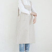 Linen Long Apron Dress,Natural Beige