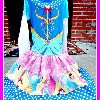 girls custom boutique graphic tee knit twirl party Princess Cinderella Belle 4 5 6 6X